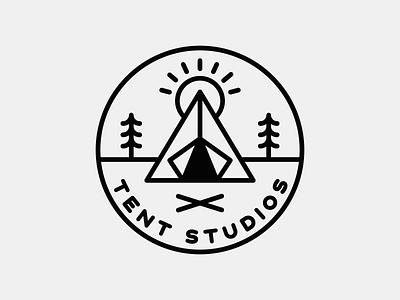 Tent Studios Logo identity campfire photo studio photography logo design logo badge branding campnorthend camping tent