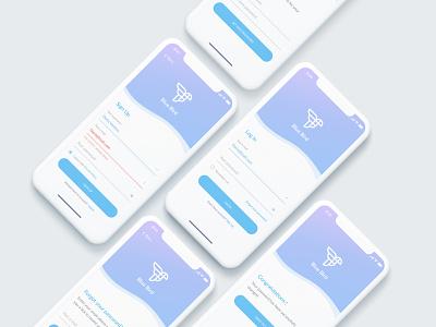 Blue Bird app sign up screen congratulation forgot password sign in logo design ux ui mobile app login iphone x ios app