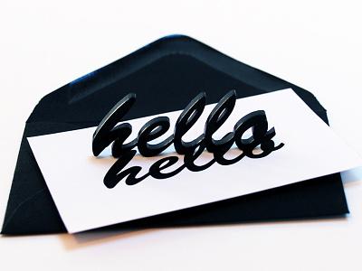 Hello business card acrylic typography