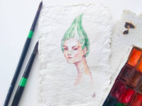 Fashion portrait on hand made paper