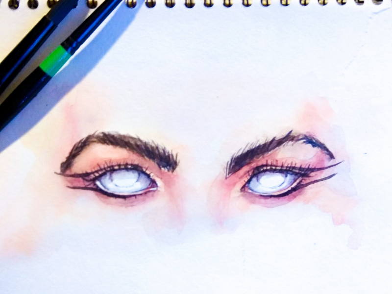 Beauty look. Eyes designer germany berlin paper watercolor style illustration portrait makeup fashion eyes