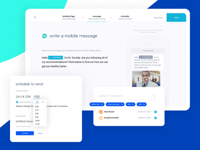 Digital Care 100 Medical Platform design message preview search contacts date picker time picker message builder schedule library figma after effects wireframe website layout branding navigation scrolling medical care web design landing page medical platform medical app chiropractic