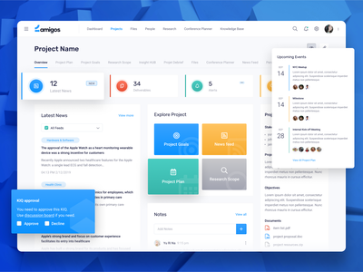 Project management dashboard design event organizer meeting app approval complex dashboard design data management project management dashboard ui overview attachments project plan researcj news feed project goals alerts latest news upcoming events dashboard