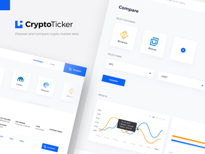 CryptoTicker - Compare and Discover crypto market data showcase tooltips graphs branding logo interaction ui design currency web platform dashboard interface charts crypto dashboard ui animation ticker market cryptocurrency exchange stock crypto exchange crypto currency compare
