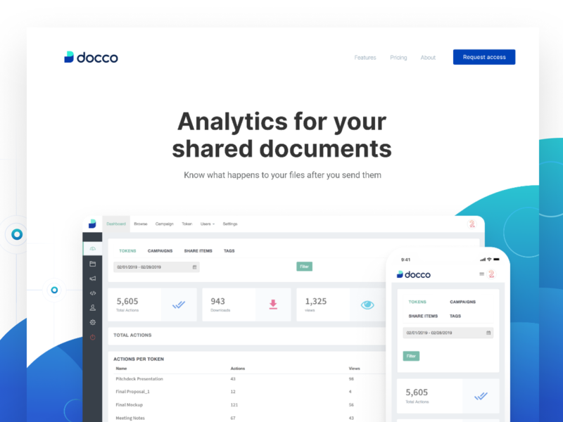 Docco - Analytics for your shared documents track engagement features track files share files request access attachment file management security file storage analytics document landing page branding logo ui interaction ui design web platform dashboard interface