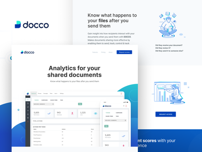 Docco - Analytics for your shared documents dashboard interface web platform ui design interaction ui logo branding landing page document analytics storage file security file management attachment request access share files track files features track engagement