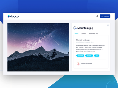 Docco - Analytics for your shared documents expanding maginify file infomation hide file preview ui animation track engagement track files share files attachment file management security storage analytics branding logo interaction ui design web platform dashboard interface