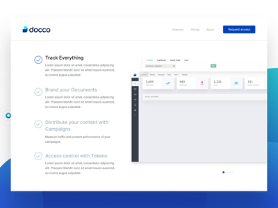 Docco - Analytics for your shared documents ui animation track engagement features track files share files request access attachment file management security file storage analytics document landing page branding logo interaction ui design web platform dashboard interface