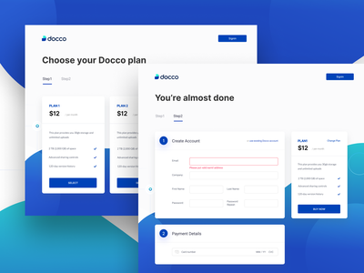 Docco - Analytics for your shared documents select plan create account payment details error state checkout process pricing plan pricing ui track engagement features share files request access file management security storage document landing page branding interaction ui design web platform
