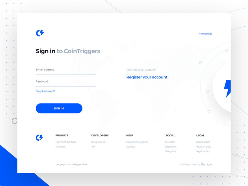 Cointriggers-Revolution in Blockchain Payments sign up page sign in page register account signin landing page webdesign interaction animation page transition motion graphic website blockchain landingpage blockchain payments get notified shop landing page hover features abstract icons footer landing page ui integrations payment solution