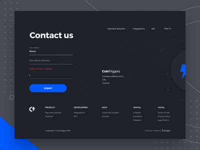 Cointriggers-Revolution in Blockchain Payments error state submit form online form contact us payment solution integrations landing page ui footer abstract icons hover features shop landing page blockchain payments blockchain landingpage website page transition interaction animation webdesign landing page signin register account