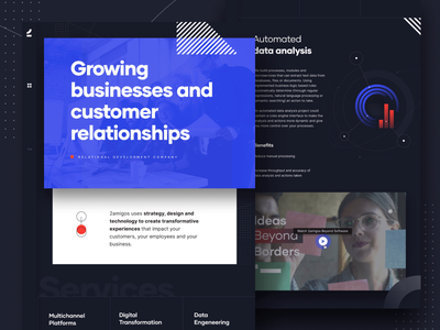 New branded home landing page design web layout web development user interface user experience uiux inspiration visual identity rebranding new brand dark landing page menubar video player integrations landing page ui abstract icons motion graphic page transition interaction animation webdesign landing page