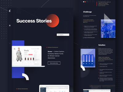 Success Stories - Case Study grid system portfolio success stories case study landing page webdesign interaction animation page transition motion graphic landing page ui menubar dark landing page new brand rebranding visual identity inspiration user experience user interface web development web layout