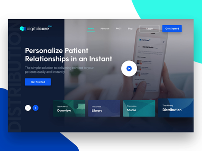 Digital Care 100 landing page design about us distribution statistics library medical illustration figma after effects landing page design wireframe website layout branding play video navigation cta scrolling page transition interactive prototype medical care web design landing page