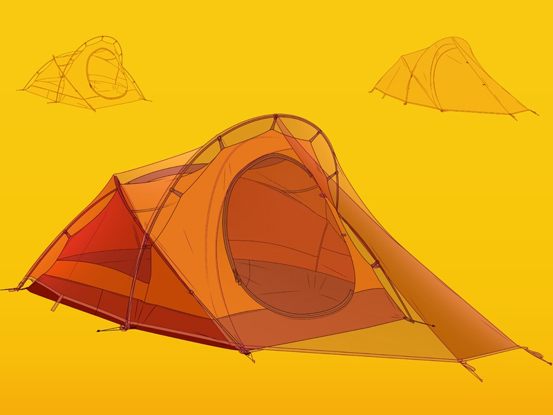 Tent outdoors camping tent design vector nature drawing johanillustration
