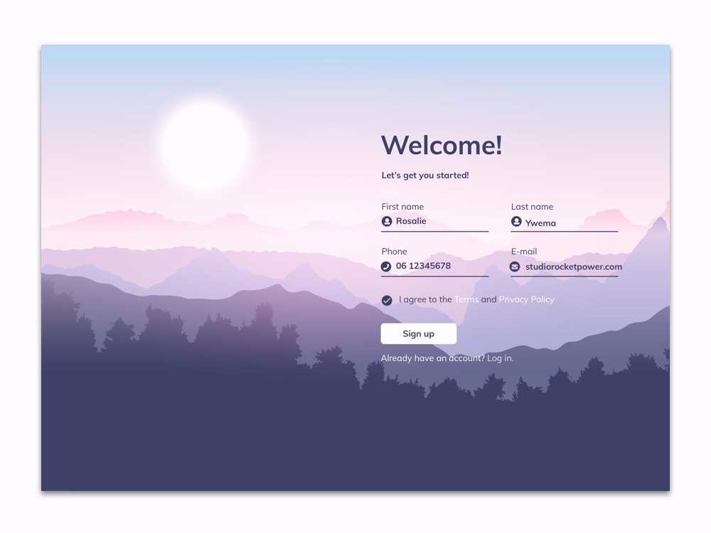 Sign up page with a view! welcome landscape sign up signup daily ui dailyui illustrator lettering typography website design vector web ui illustration ux