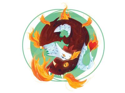 Dragon Lovers male dragon men female female dragon white illustrator illustration design burning burn circle fireart fantasy fire lovers love dragons dragon