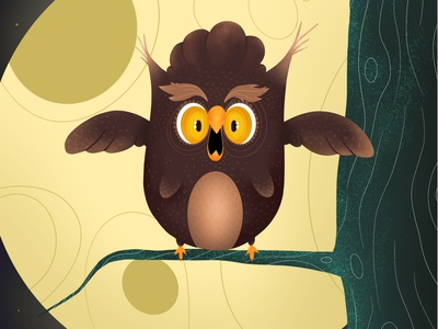 Screaming Owl book kids book kids illustration tree moon animals animal night scream screaming character design character illustration illustrator owl