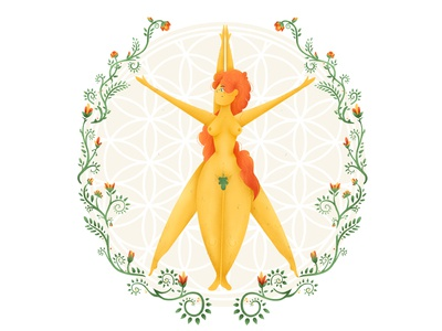 Goddess redhair redhead woman female body positive body character design character mandala flowers sacred geometry sacredgeometry sacred illustration illustrator goddess