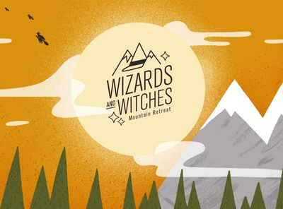 Wizards and Witches 06 Endframe clouds moon mountains explainer video explainer wizards witches witch script logo lockup endframe school of motion motion design illustrator illustration