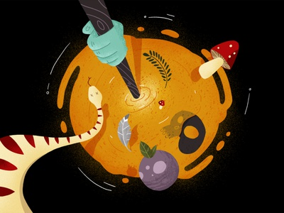 Wizards and Witches 04 motion perspective magic wand magic potion mixture mushroom skull snake bowl witches wizards explainer school of motion explainer video motion design illustrator illustration