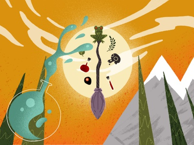 Wizards and Witches 03 eyeball skull mixture potion mountains wizards wizard witches witch broom moon frog motion explainer explainer video motion design character design character illustrator illustration