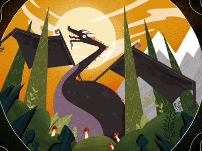 Wizards and Witches 02 forest woods mountains mushrooms dragon wizards witches school of motion motion explainer explainer video motion design character design character illustrator illustration
