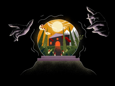 Wizards and Witches - Opening Frame mushrooms moon creepy house crystal ball snake hands mountains explainer school of motion explainer video motion motion design illustration illustrator