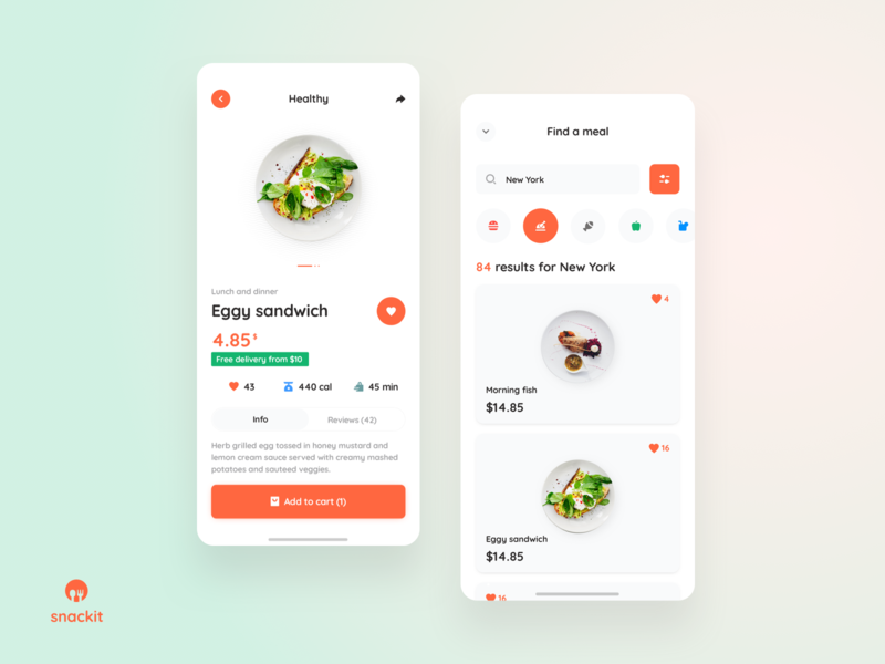 Snackit - order and search lunchbox dinner takeaway order tasty foody food design ux app ui userexperiance dribbbleshot interface mobile ios