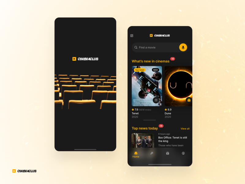 cinemaclub promo sketch fun leisure ticket black theater film movie cinema userexperiance dribbbleshot typography design ux ui app interface mobile ios