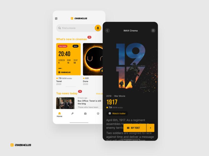 Cinemaclub promo v2 camera black  white leisure freetime cinema movie userexperiance design dribbbleshot interface app ui mobile ios