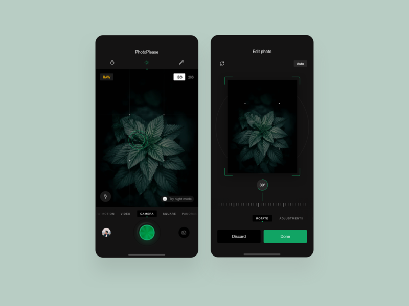 Take a photo app dark ui black greens shot photoshop ux app userinterface userexperiance dribbbleshot interface ui mobile ios