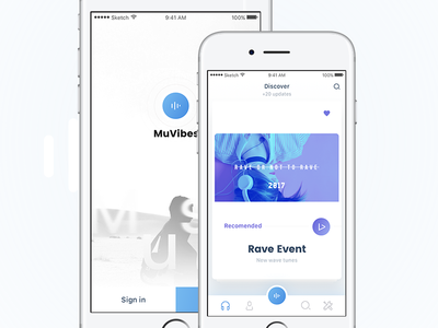 MuVibes - Login And Explore screens