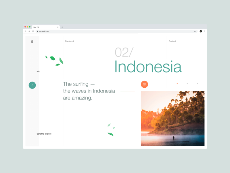 OurWorld website userexperiencedesign planet travel nature webdesign typography web ui ux dribbbleshot interface