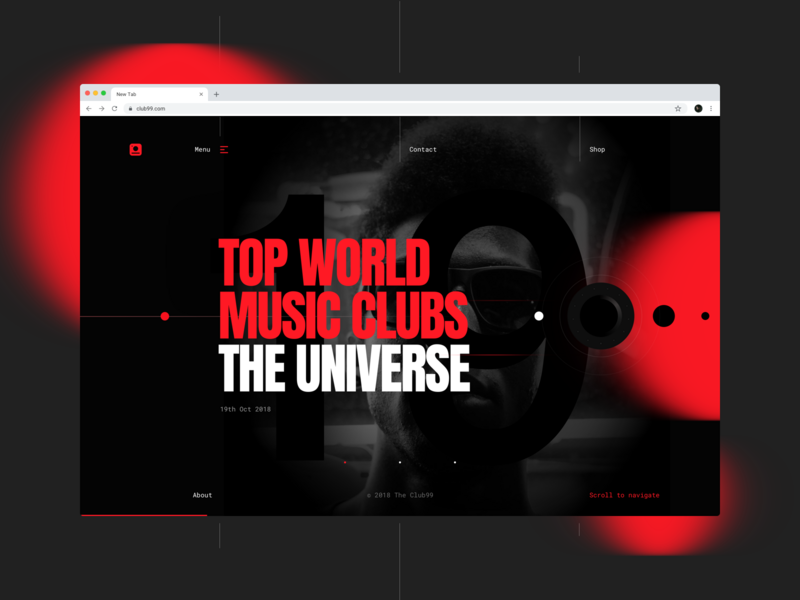 Club 99 website userinterfacedesign blackandred music art event club music webdesign typography design web ux dribbbleshot interface ui