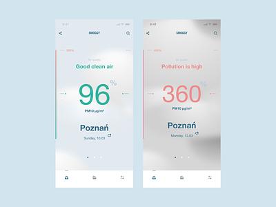 Smog App smog weather forecast weather userinterface userexperiance ux design dribbbleshot interface ui app mobile ios