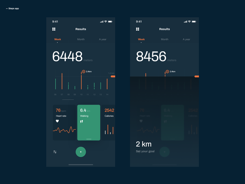 Steps App health app health steps userinterface userexperiance design ux dribbbleshot interface app ui mobile ios