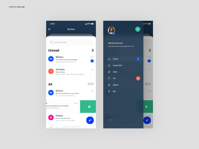 Mail App mail box mail userexperiance design dribbbleshot interface app ui mobile ios