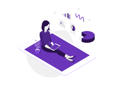 Illustration - dashboard on device collaboration devices vector design browser desktop mobile illustration