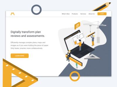 Landing page collaboration devices vector design browser desktop mobile illustration