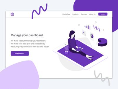 Landing page - Dashboard collaboration devices vector design browser desktop mobile illustration