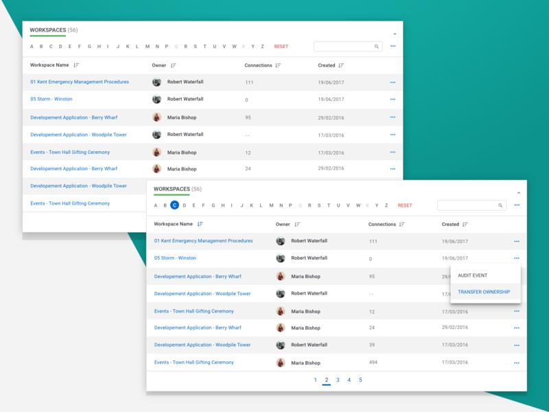 Workspace Data browser desktop design ux ui