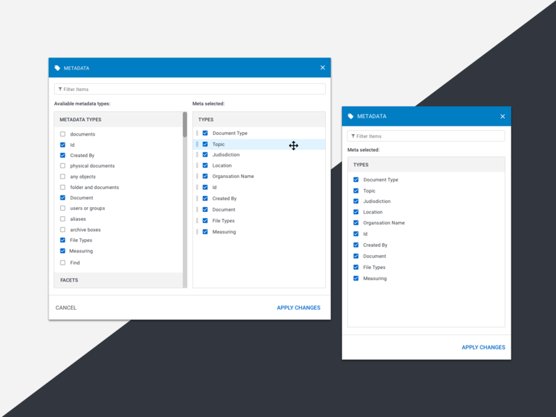 Metadata Modal browser desktop design ux ui