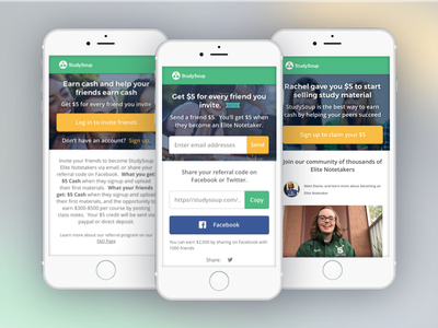 StudySoup Referral Program Mobile UI and UX design referral-program ux ui mobile studysoup