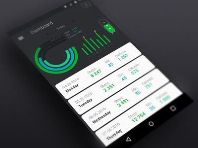 Mi Band Control  graph flat design flat dashboard material design android miband ui