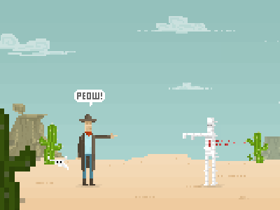 Peow! pixel concept art game illustration blood desert cowboy mummy pixels