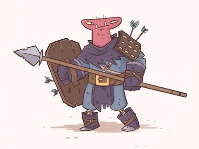 Pinky fantasy spear illustration doodle