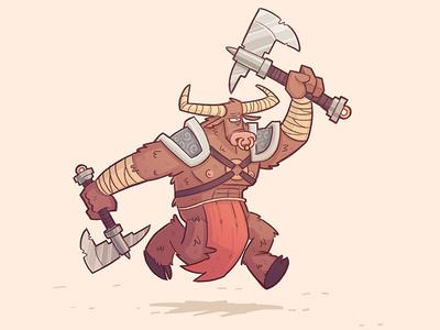 Minotaur fantasy axe illustration doodle minotaur