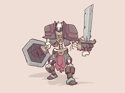 Skeleton dude fantasy warrior skeleton doodle illustration