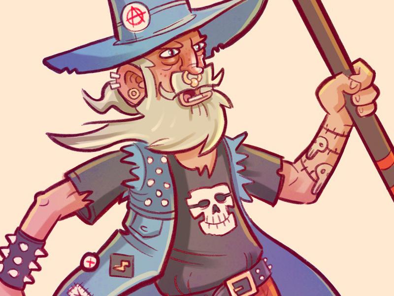 Punk wizard illustration doodle wizard punk